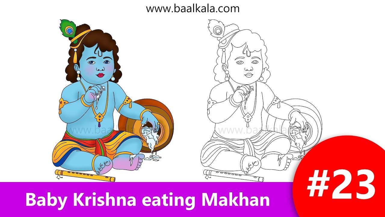 Draw Cute Baby Krishna Eating Butter Makhan Step By Step Easy Drawing For Kids Youtube