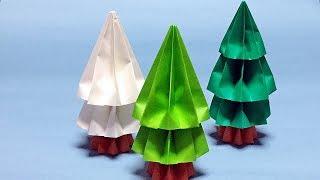 3D Origami Mini Christmas Tree Tutorial   How to Make a Paper Christmas Decorations Handmade