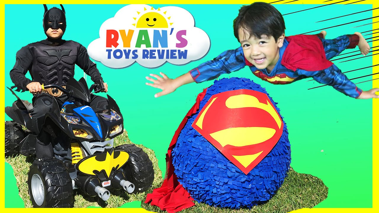 Ryan opens Giant Superman Surprise Egg - YouTube