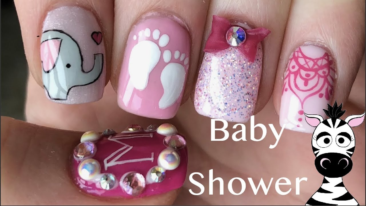Baby Shower With 3d Bow Gel And Acrylic Nail Art Tutorial