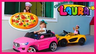 LAURINHA BRINCANDO DE PIZZARIA -  PRETEND PLAY PIZZA DELIVERY & COOKING FOOD KITCHEN TOY SET