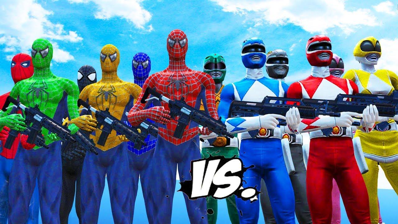 Download MIGHTY MORPHIN POWER RANGERS VS SPIDER-MAN, BLUE SPIDERMAN, GREEN SPIDERMAN, YELLOW SPIDERMAN