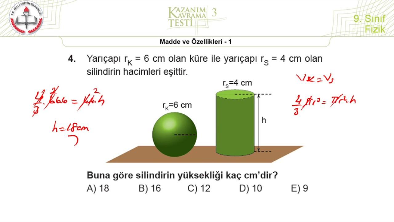 9.Sınıf MEB Okul Kursu Fizik K.K.Testi 3 +PDF (Madde ve Özellikleri-1) [2020-2021]