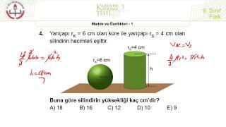 9.Sınıf MEB Okul Kursu Fizik K.K.Testi 3 +PDF (Madde ve Özellikleri-1) 2020-2021