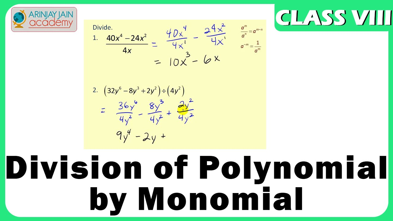 Worksheets Dividing Polynomials By Monomials Worksheet division of polynomial by monomial algebric expression maths class 8viii iscecbse youtube