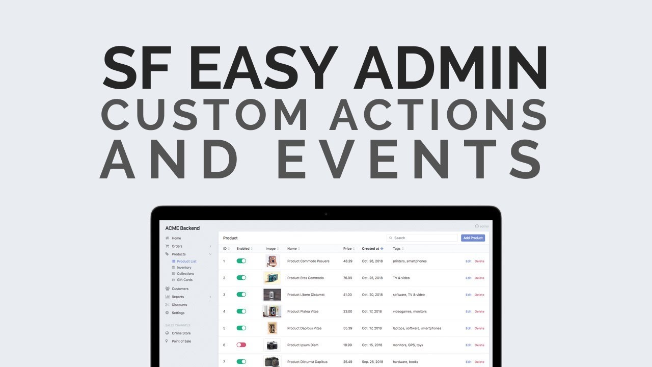 Easy admin Custom actions and Events in Symfony 4