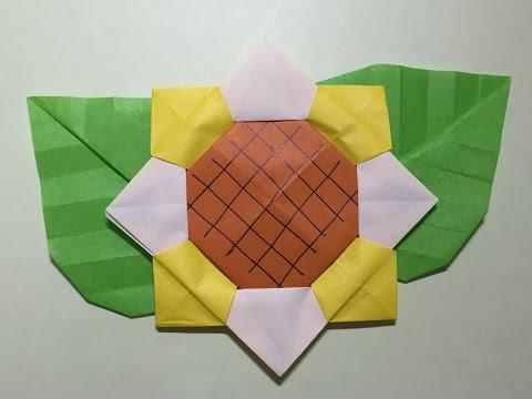 ハート 折り紙:ひまわりの折り紙-youtube.com