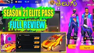 FREE FIRE SEASON 21 ELITE PASS FULL REVIEW IN TELUGU | FREE FIRE TOP UP EVENT | TGZ