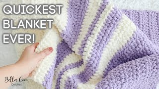 HOW TO CROCHET A FĄST AND EASY BLANKET | BEGINNER FRIENDLY | MAKE IN 3 HOURS | Bella Coco Crochet