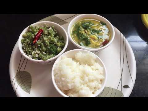 Diet Lunch routine    beans and coconut     tomato soup    palakura papu   