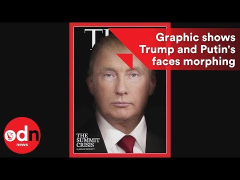 Graphic shows Trump and Putin's faces morphing together