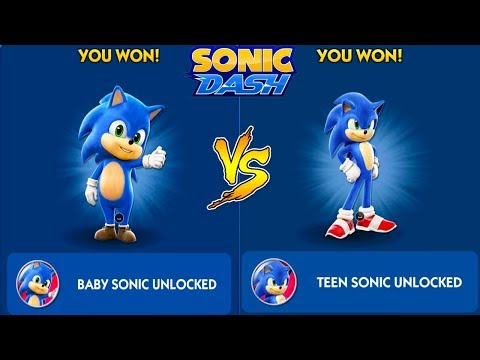 Sonic Dash Teen Sonic Vs Baby Sonic Unlocked Update Sonic The Hedgehog Movie New Special Characters