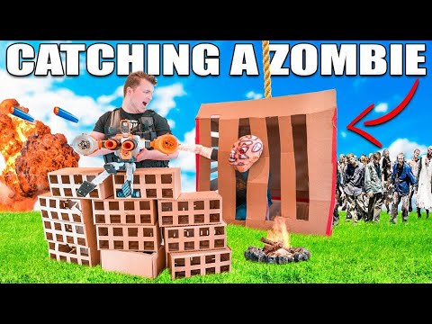 24 HOUR BOX FORT ZOMBIE BASE  Zombie Trap!