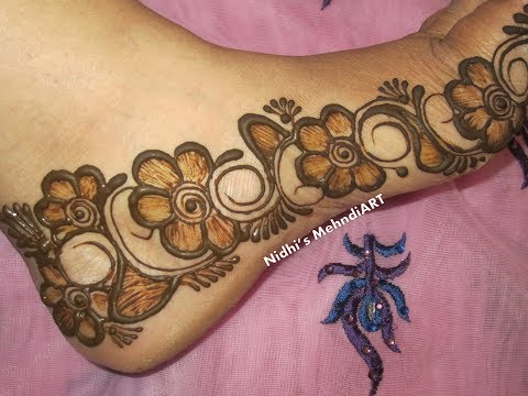 Shaded Flowery Feet Mehndi Henna Design Border Tutorial- DIY Mehndi Video