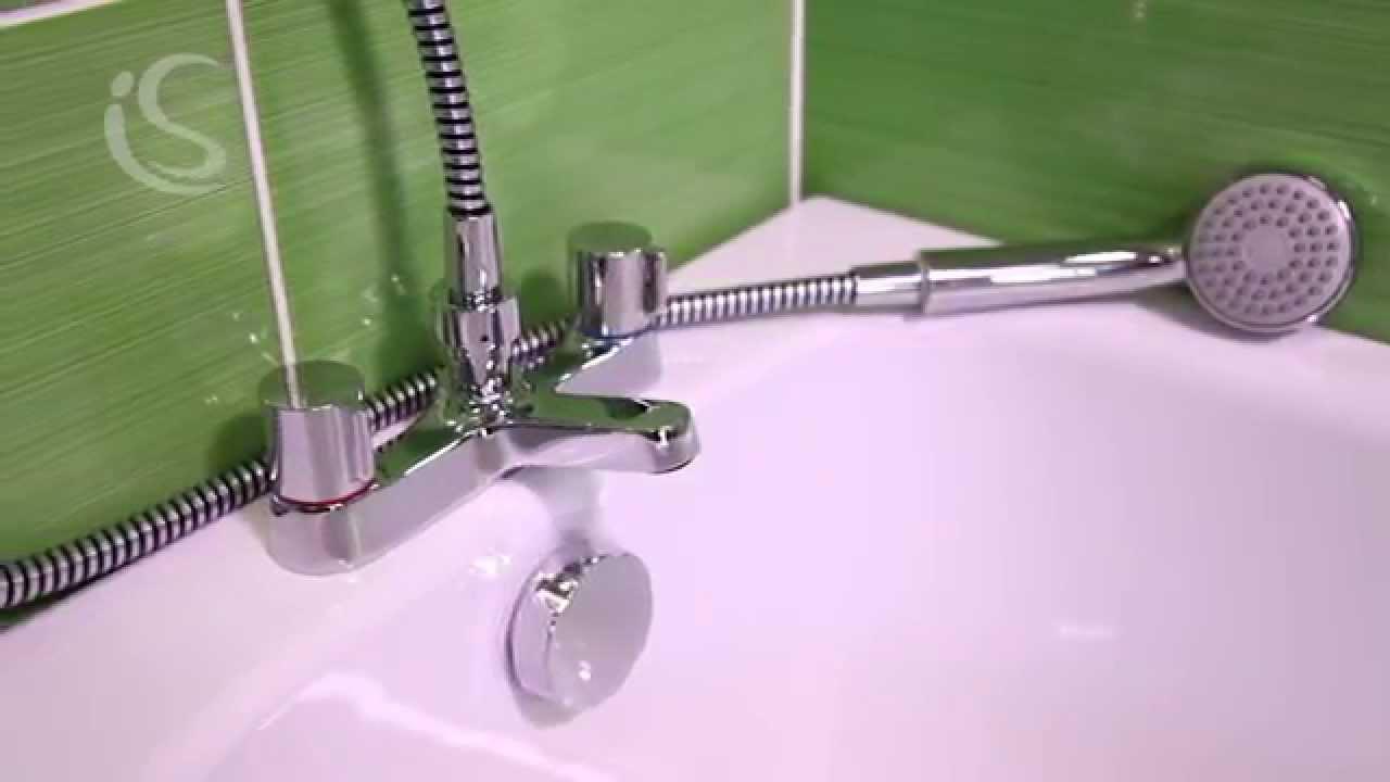 Alto 2 hole bath shower mixer with shower set - B9675AA - YouTube