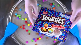 Ice Cream Rolls | magic satisfying fried Ice Cream with Smarties Chocolate colorful Cookies | ASMR