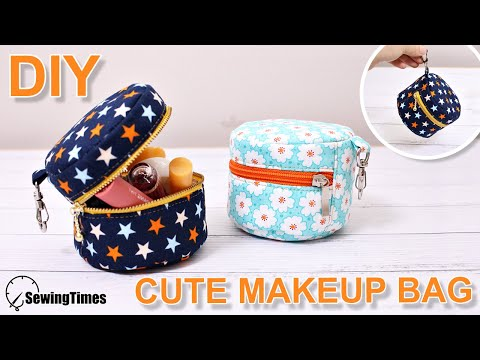 DIY CUTE MAKEUP BAG | Sewing Gift Ideas | round zipper pouch sewing tutorial [sewingtimes]