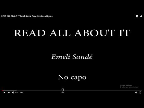 Mix - READ ALL ABOUT IT Emeli Sandé Easy Chords and Lyrics