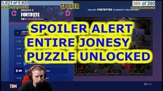 SPOILER ALERT FORTNITE ALL FORTBYTES UNLOCKED IN JONESY PUZZLE SPOILER ALERT