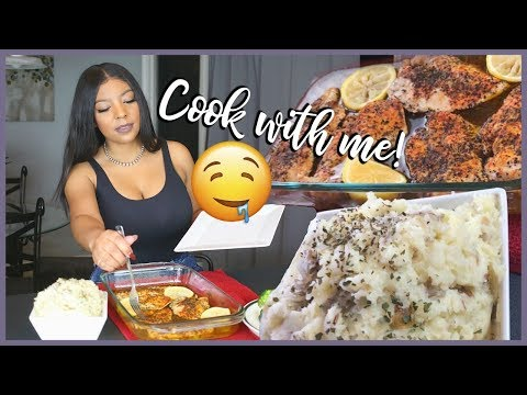 COOK WITH ME : LEMON PEPPER CHICKEN W/ HOMEMADE GARLIC MASHED POTATOES