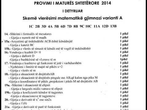 Provimi i Matures Shteterore 2014 Skema e vleresimit matematike gjimnazi varianti A