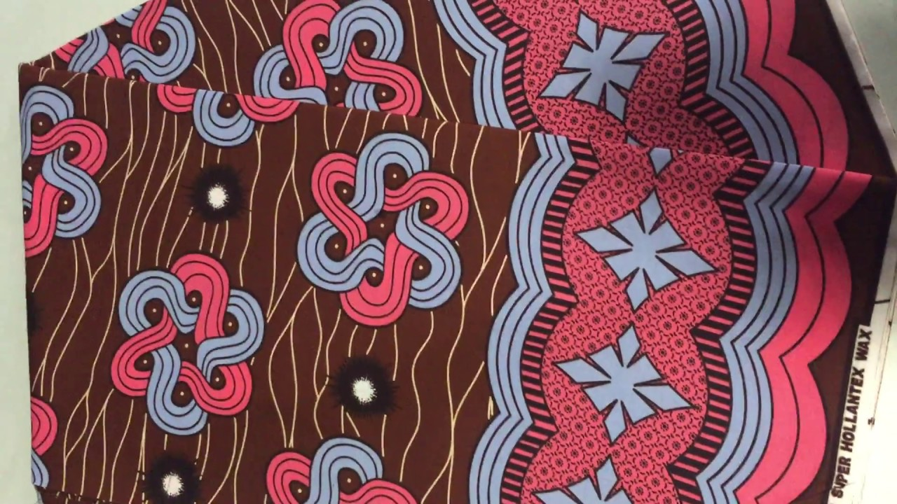 African Fabric Design Hollantex Brown Red White Chinese Knot Design