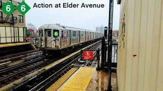 NYC Subway: Rainy IRT Pelham Line action at Elder Avenue