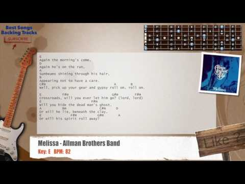 Melissa - The Allman Brothers Guitar Backing Track with chords and lyrics