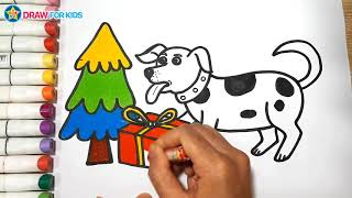 How To Draw A Dog and Christmas gift box || Draw For Kids