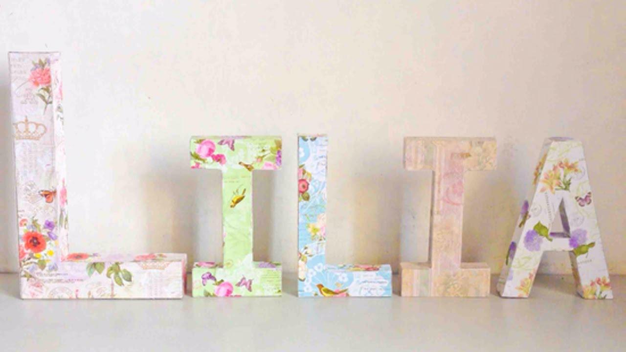 Crea un Elegante Nome con Lettere 3D in Decoupage - Fai da Te ...