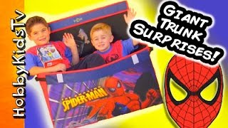 Biggest Spiderman Trunk Surprise Toys! Boppers Bubbles Car Chases By Hobbykidstv