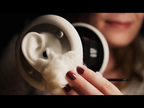 Binaural ASMR. Ear Massage with Cotton Balls (3Dio)