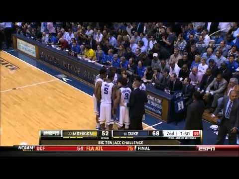 Michigan v Duke: Throw-In Violation (First) and Coach K T (After Slow Motion Replay)