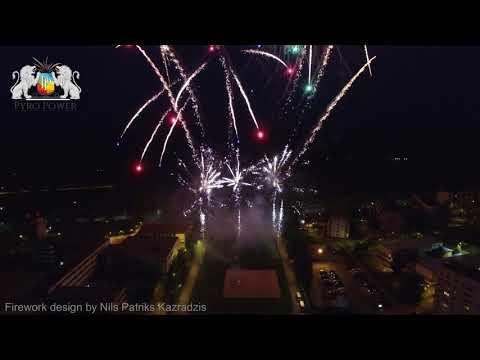 Firework from bird's view / Pyro Power LTD / Olaine - Latvia