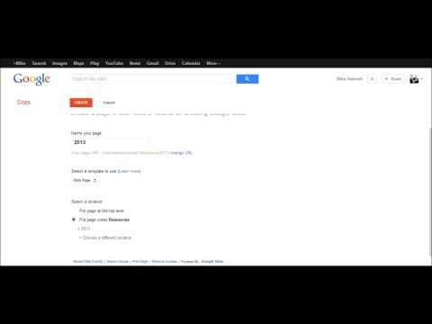 Adding a New Page to Your Google Site - Sites Tutorial 4 of 5