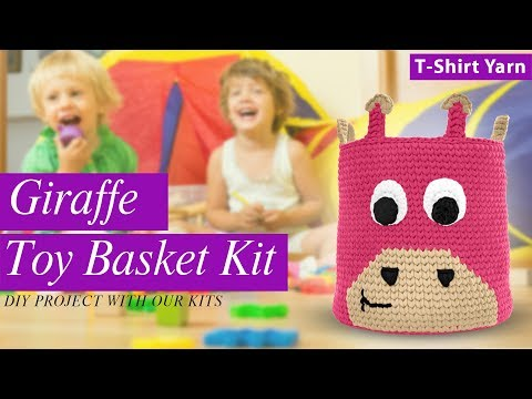 Crochet Giraffe Toy Basket With T-Shirt Yarn