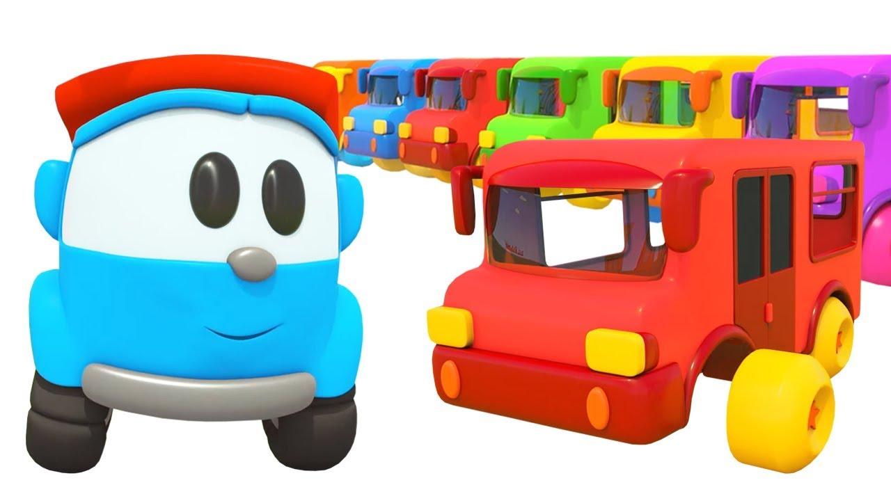 Разноцветные автобусы и животные - Песенки с Левой - Музыкальные мультики для детей