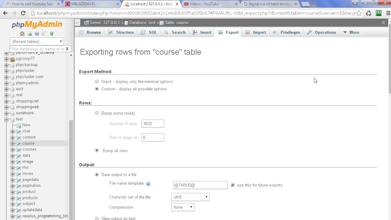 How to export mysql table to csv with column names in phpmyadmin