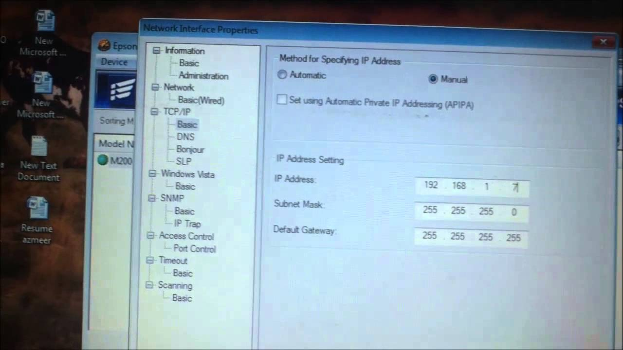 How to Configure Network Printer (Manual IP Setting)