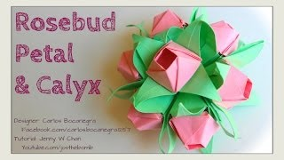 Valentine's Day Crafts- Origami Rose - How to Fold Origami Flower or Rosebud Petal & Calyx Bouquet