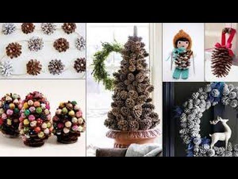 80 ideas para decorar con pinas de pino en navidad youtube for Manualidades navidad con pinas