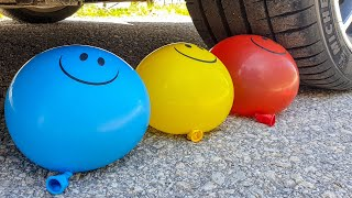 Crushing Crunchy & Soft Things by Car! EXPERIMENT CAR vs WATER SMILE BALLOONS