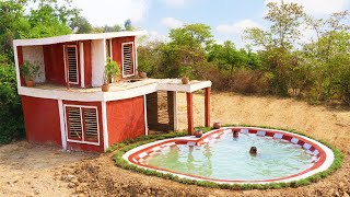 Primitive Skill Builder: Building The Most Beautiful Two Story Villa House With Swimming Pool (full)