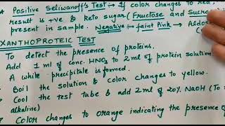 Jee/neet seliwanoff test and xanthoproteic test