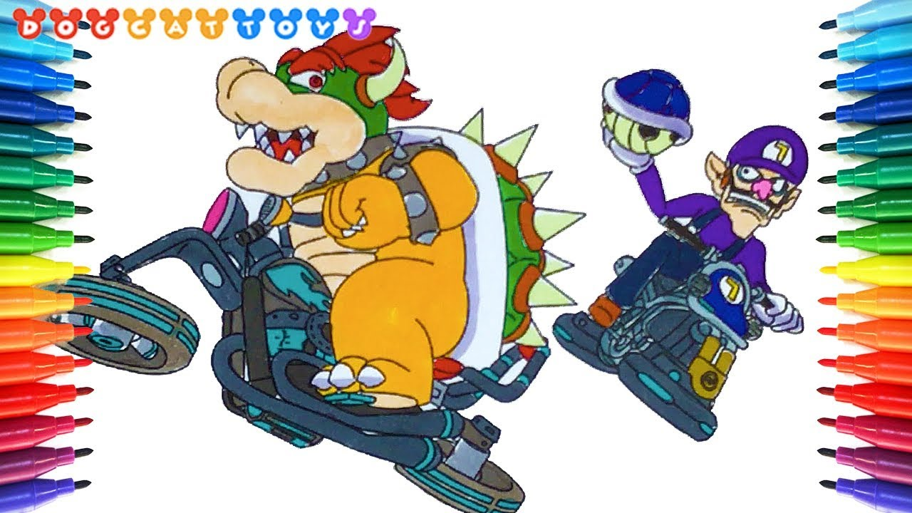 How to Draw Super Mario Kart8, Waluigi and Bowser #227 | Drawing ...