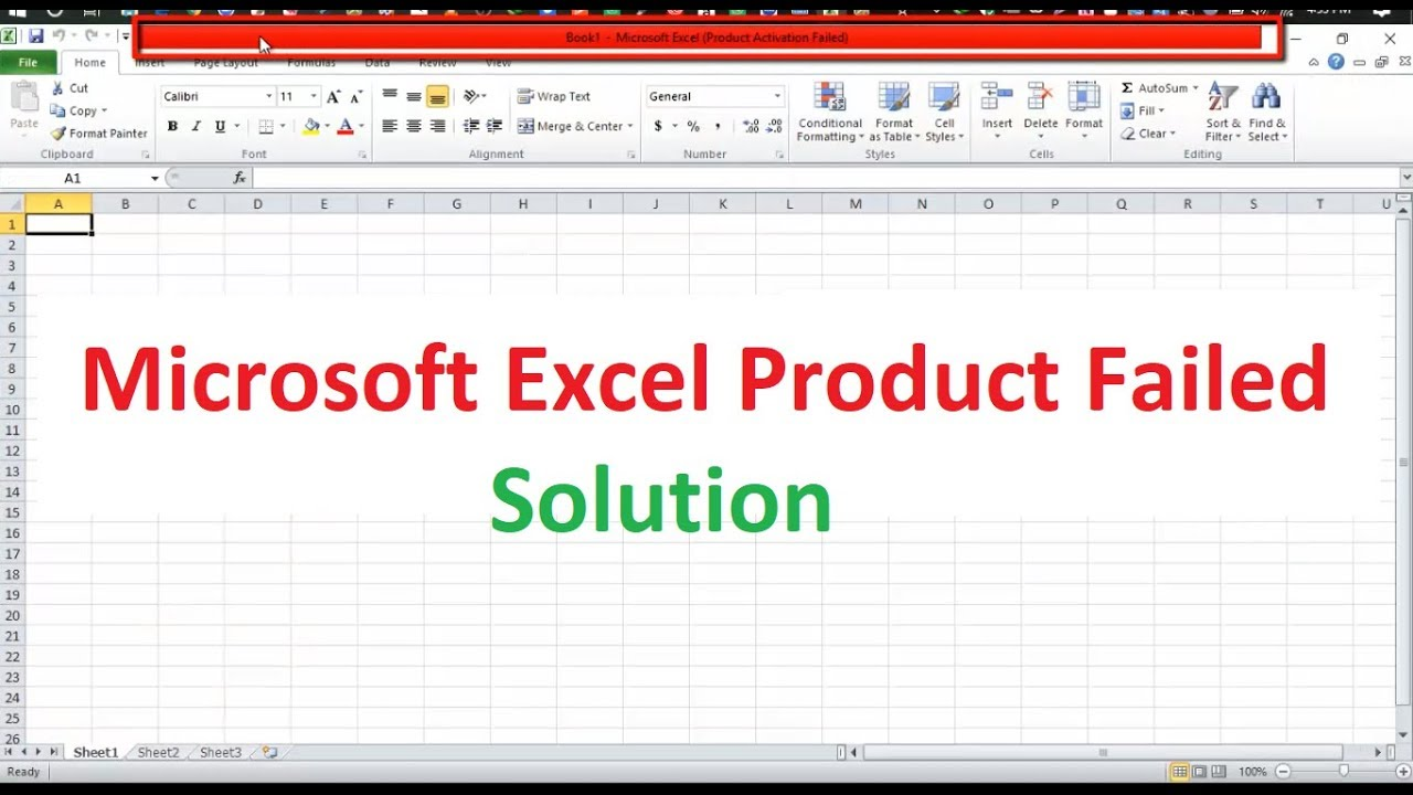 Microsoft Excel product failed solution