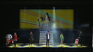 Persona 4 Visualive on stage fighting the shadows and do an All out...