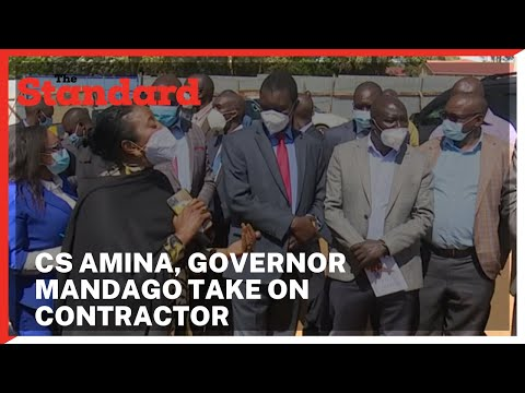 CS Amina, Governor Mandago confronts a contractor over the stalled Kipchoge Keino Stadium in Eldoret