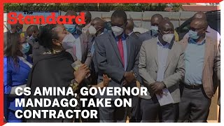 CS Amina, Governor Mandago confronts a contractor over the stalled Kipchoge Keino Stadium in Eldoret