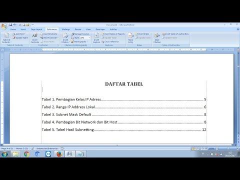 Dalam sebuah karya tulis ilmiah seperti skripsi misalnya, diperlukan sebuah halaman khusus sebagai index seluruh dokumen....